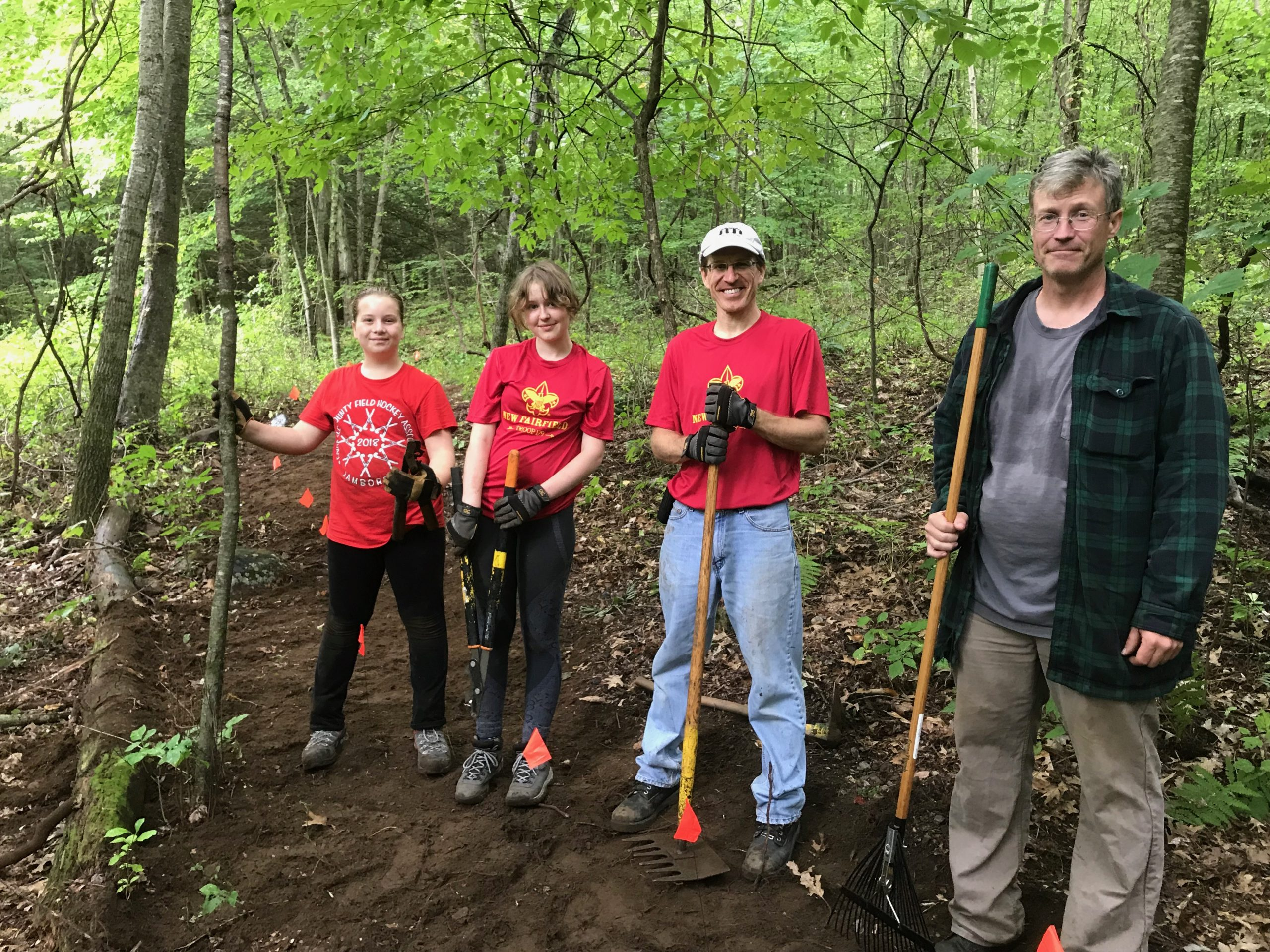 Volunteer - Volunteers building trails at Macricostas Preserve during a monthly work party in 2019. Photo by Mike Giapponi.
